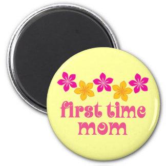 Floral First Time Mom Refrigerator Magnet