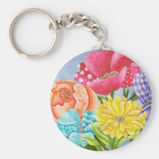 Floral Five Basic Round Button Keychain