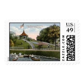 Floral Flag, Belle Isle Park, Detroit 1915 Vintage Postage Stamps