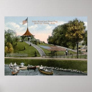 Floral Flag, Belle Isle Park, Detroit 1915 Vintage Poster