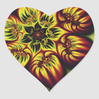 Floral Flame Heart Sticker