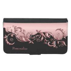 Floral Florid Pink Rose Metallic on Black Wallet Phone Case For Samsung Galaxy S5 at Zazzle