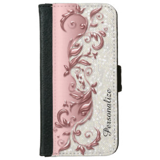 Floral Florid Rose Metallic White Confetti iPhone 6/6s Wallet Case