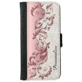 Floral Florid Rose Metallic White Confetti iPhone 6/6s Wallet Case