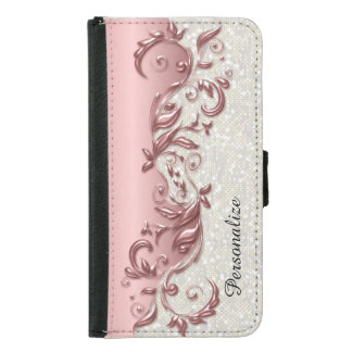 Floral Florid Rose Metallic White Confetti Samsung Galaxy S5 Wallet Case