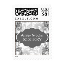 floral flourish charcoal gray Wedding Cards Postage