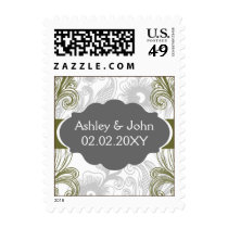 floral flourish gray and olive green Wedding Postage
