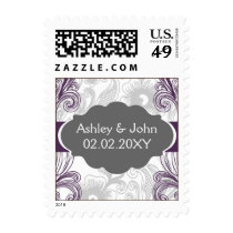 floral flourish gray and purple Wedding Postage