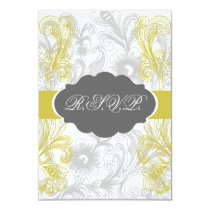 floral flourish gray and yellow Wedding Card