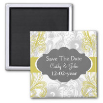 floral flourish gray and yellow Wedding Magnet