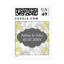 floral flourish gray and yellow Wedding Postage