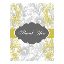 floral flourish gray and yellow Wedding Postcard