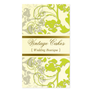 Floral Flourish Lime Green Custom Profile Card Double-Sided Standard Business Cards (Pack Of 100)