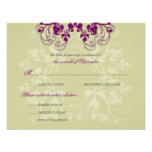 Floral Flourish Plum Purple (R) Wedding RSVP Card Custom Announcements