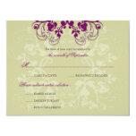 "Floral Flourish Plum Purple (R) Wedding RSVP Card 4.25"" X 5.5"" Invitation Card"