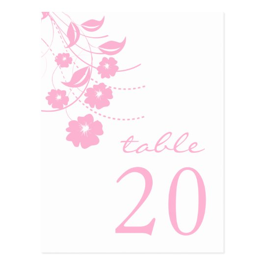 Floral Flourish Table Numbers (Pink) Postcard