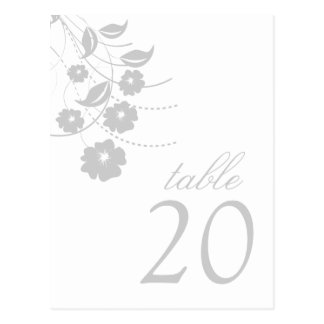 Floral Flourish Table Numbers (Silver) Postcard