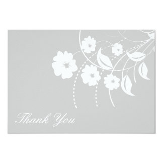 Floral Flourish Thank You Note (Silver / White) Card