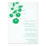 "Floral Flourish Wedding Invitation (Green / White) 5"" X 7"" Invitation Card"