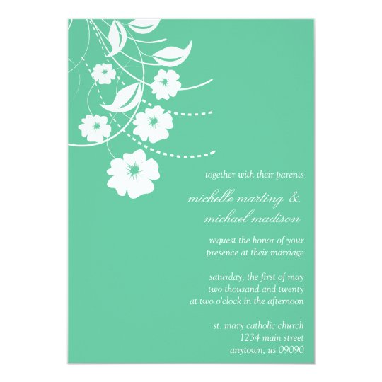 Floral Flourish Wedding Invitation (Mint Green)