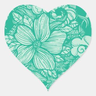 Floral Flow- Teal- Heart Sticker