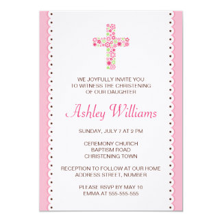 Floral flower cross christening baptism invitation