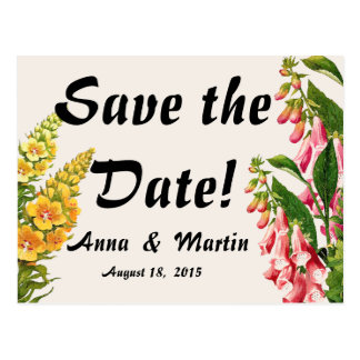 Floral Flower Foxglove Save the Date Postcards