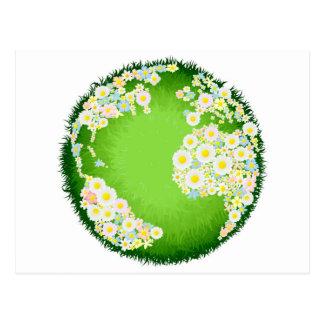 Floral flower globe concept postcards