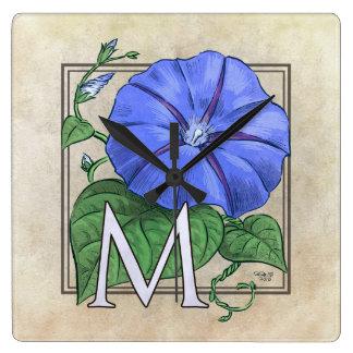floral,flower,monogram,alphabet,classic,traditiona square wall clock