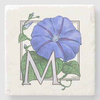 floral,flower,monogram,alphabet,classic,traditiona stone coaster