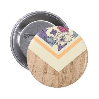Floral Flower Peach Pink Blue Wood Phone Case 2 Inch Round Button