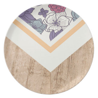Floral Flower Peach Pink Blue Wood Phone Case Dinner Plate