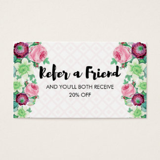 Floral Flower Refer a Friend Referral Business Card