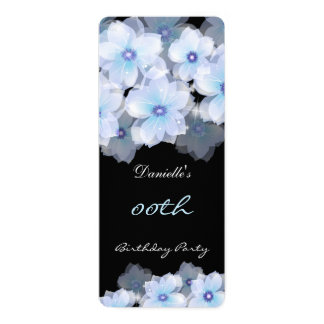 """Floral Flowers Blue Teal Black Birthday Party 2 4"""" X 9.25"""" Invitation Card"""