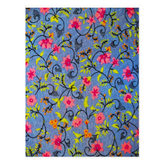 Floral Flowers Design Texture Fabric Postcard