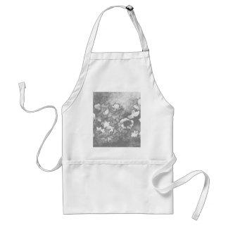 Floral Flowers Grey White Elegant Modern Gifts Adult Apron