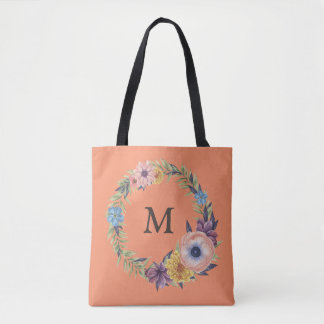 FLORAL-Flowers-INITIAL-Monogram - Salmon TOTE