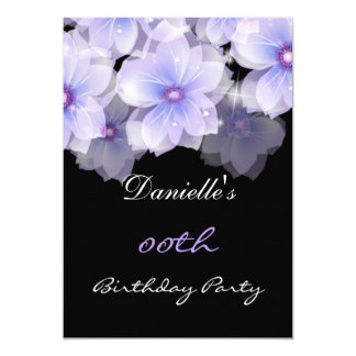 Floral Flowers Purple Lilac Black Birthday Party Card