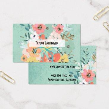 TwoTravelledTeens floral flowers vintage wallpaper business card