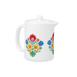Floral Folk Art Teapot