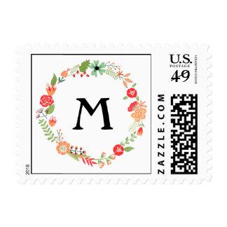 Floral Folksy con el monograma Sello Postal