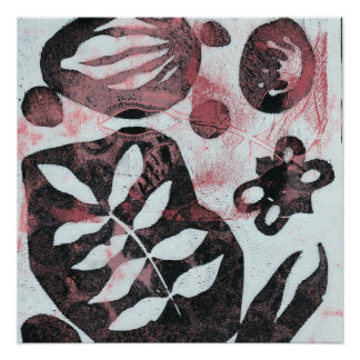 Floral Fossils Abstract Monoprint Poster
