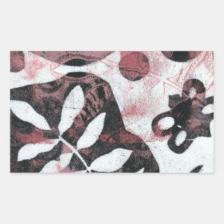 Floral Fossils Abstract Monoprint Rectangular Sticker