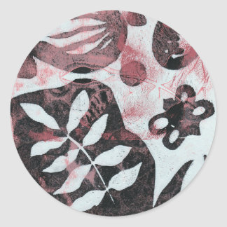 Floral Fossils Abstract Monoprint Round Stickers