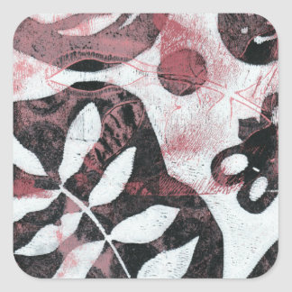 Floral Fossils Abstract Monoprint Square Sticker