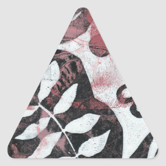 Floral Fossils Abstract Monoprint Triangle Sticker