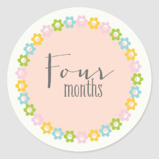Floral four months New Baby Sticker