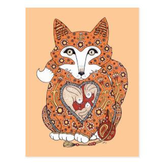 Floral Fox Cub Postcard
