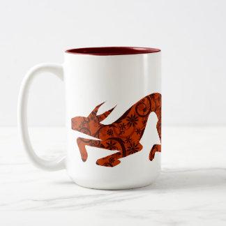 Floral Fox Two-Tone Coffee Mug
