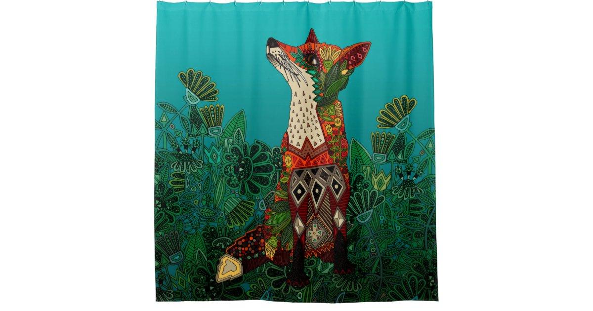 Floral Fox Shower Curtain